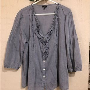 Light chambray button down ruffle shirt